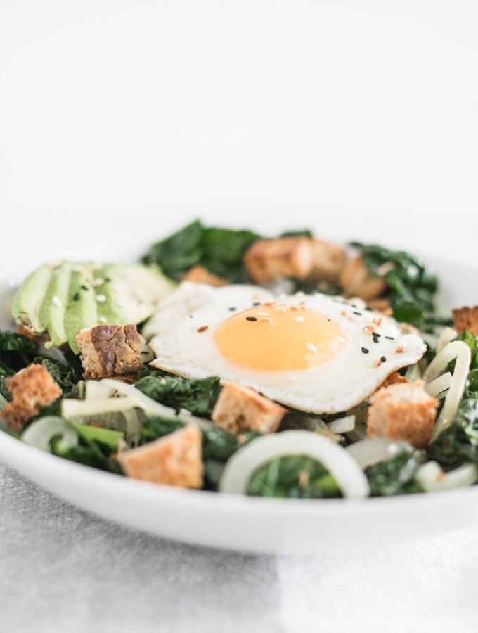 warm kale breakfast salad