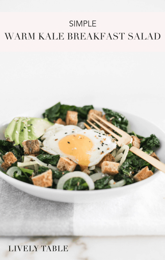 This simple warm kale breakfast salad with caramelized onions, sourdough croutons, and everything bagel seasoning is a delicious way to get veggies in at breakfast or any time of day! (#vegetarian, #nutfree, #dairyfree) #kale #salad #breakfast #sourdough #egg #healthy #recipes