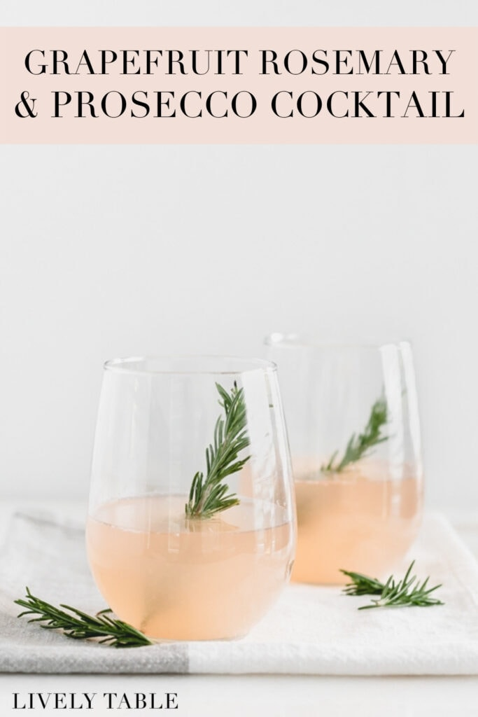 pinterest image with text overlay for grapefruit rosemary prosecco cocktail.
