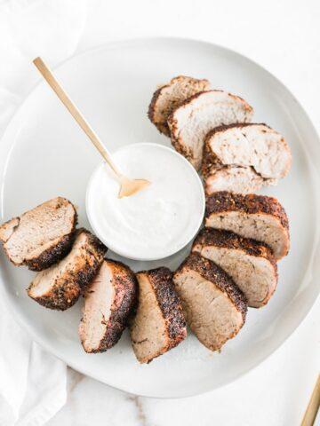 coffee rubbed pork tenderloin with horseradish cream sauce