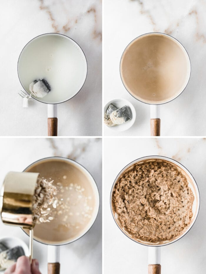 four image collage showing steps to making earl grey oatmeal in a white saucepan.