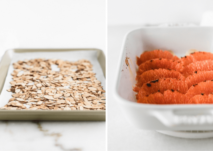 toasted almonds on a baking sheet and broiled grapefruit segments in a white baking dish.