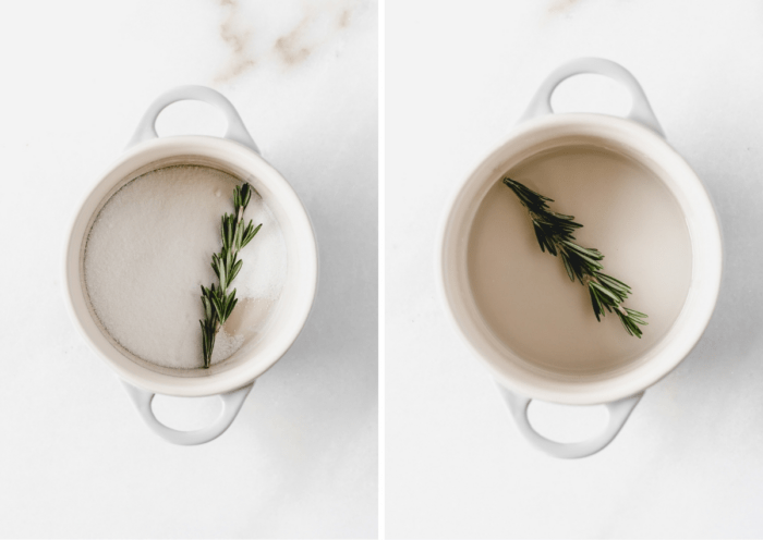 sugar and rosemary in a small pot next to finished rosemary simple syrup in a small pot.