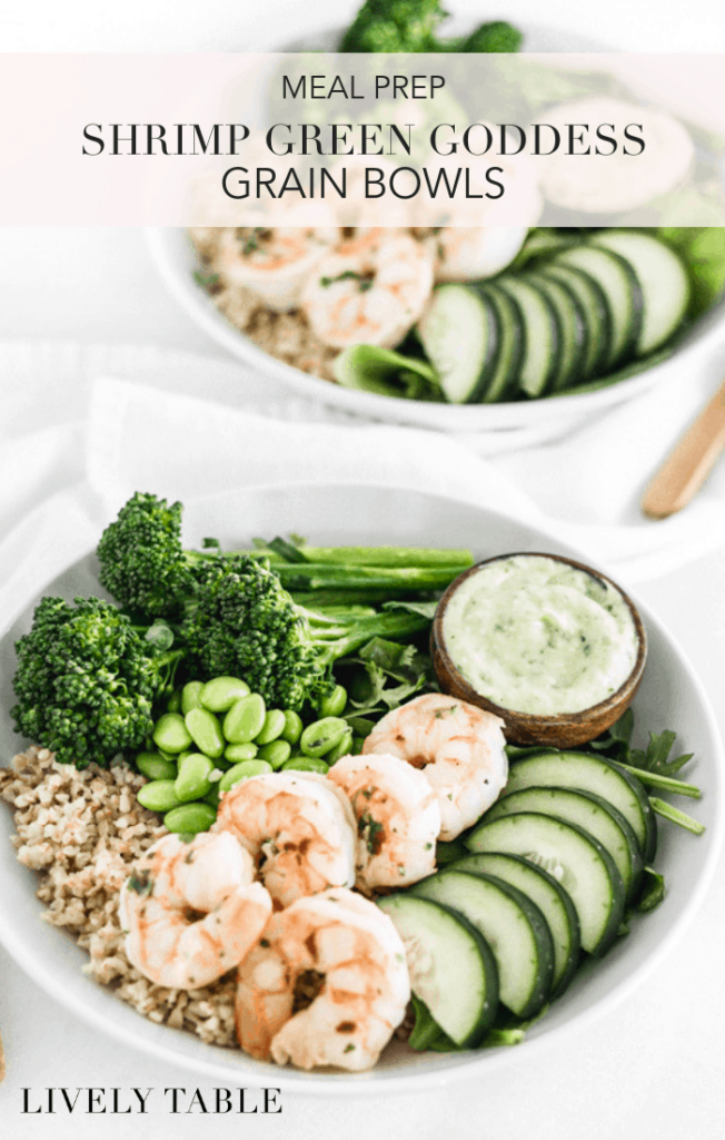Meal prep shrimp green goddess grain bowls are delicious, nourishing bowls that are easy to make ahead or eat right away for healthy meals any time! (nut-free, gluten-free and dairy-free options) #ad #whereyourbartakesyou #mealprep #grainbowl #healthy #recipes #shrimp #seafood #greengoddess #glutenfree #dairyfree #nutfree #wholegrains #dinner #lunch