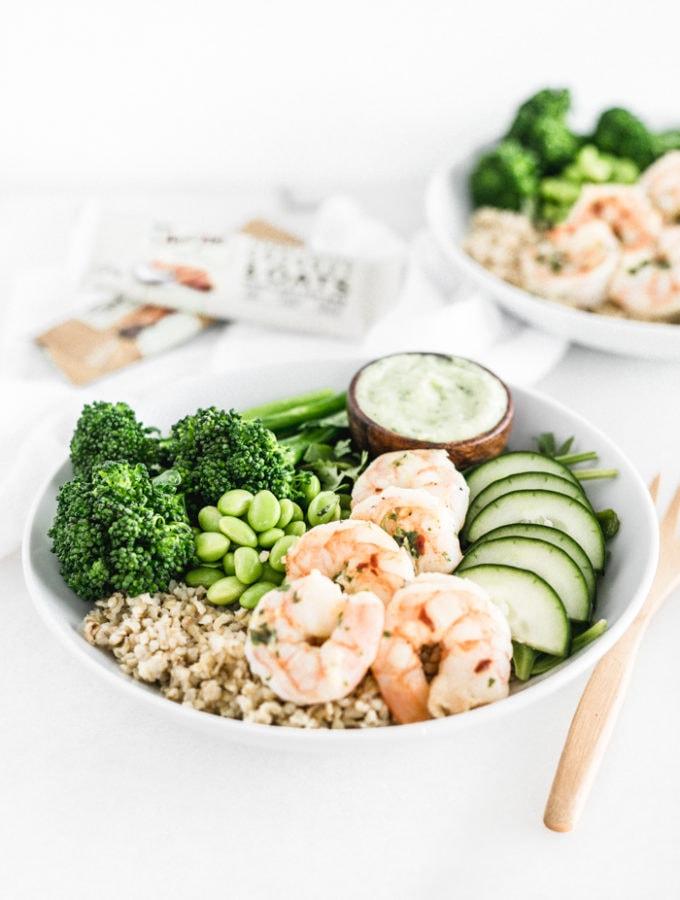 shrimp green goddess grain bowls