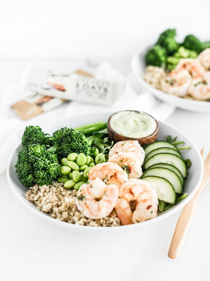 shrimp green goddess grain bowls