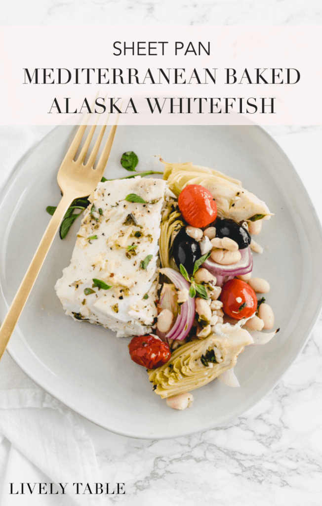 Make a mouth watering, healthy seafood dinner in no time with this sheet pan Mediterranean baked Alaska whitefish. Full of delicious flavors from garlic, artichokes, olives and tomatoes, and ready in less than 30 minutes, this easy sheet pan meal will fix all of your dinner woes! (#glutenfree, #dairyfree, #nutfree) AD #AskForAlaska #seafood #dinner #fish #recipes #Mediterranean #healthy