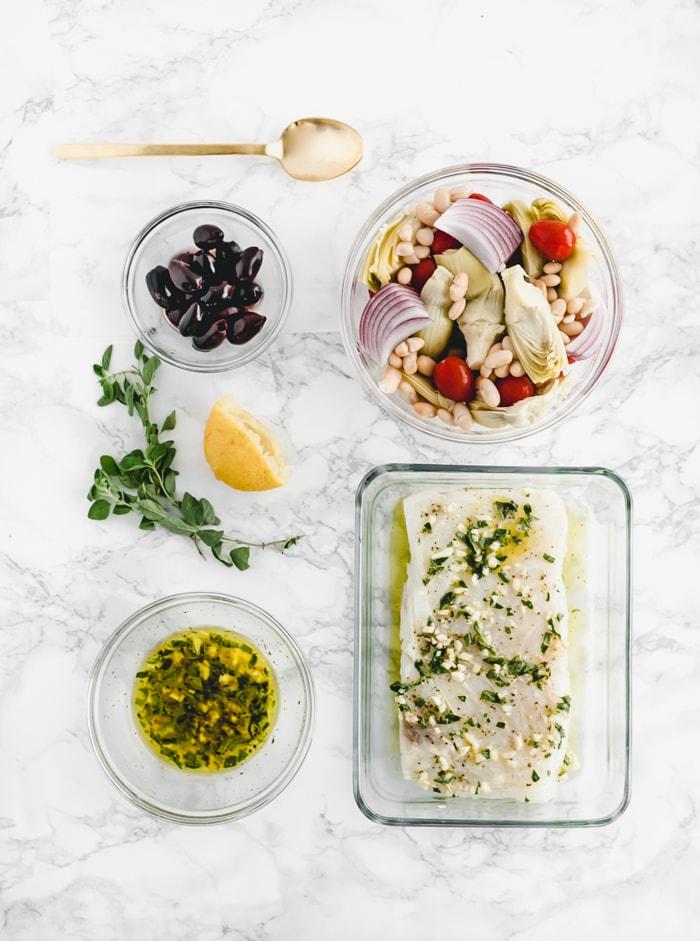 Sheet Pan Mediterranean Baked Alaska Whitefish ingredients