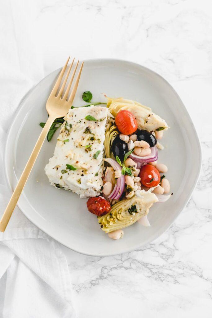 Mediterranean baked whitefish