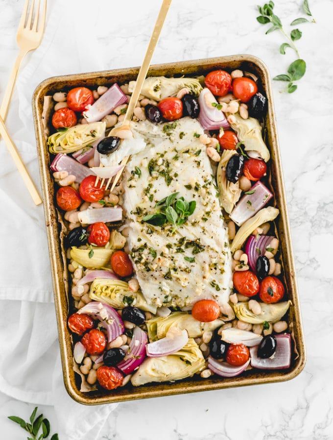 Easy Sheet Pan Mediterranean Baked Alaska Whitefish