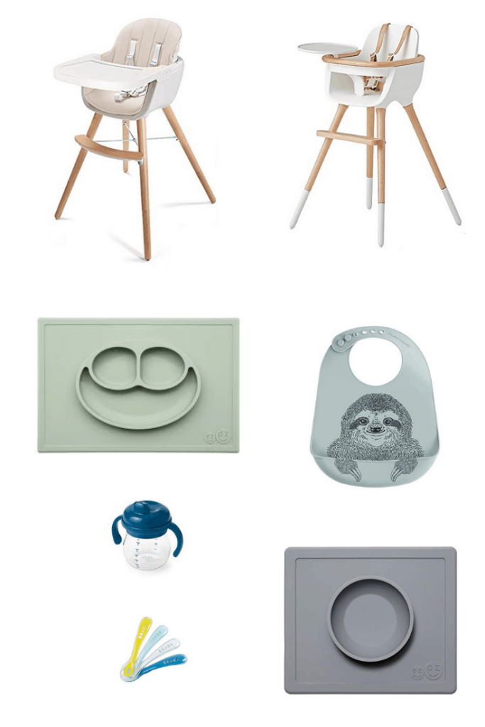 Modern Neutral Baby Feeding Tools - Add these modern and neutral baby products, including gear, toys, and feeding must haves, to your registry for a stylish nursery and a baby friendly home that won't drive you insane. #mealtime #selffeeding #babyledweaning #baby #babygear #modern #neutral #babyregistry #newmom #modernbaby #whattoexpect #babythings #babyproducts #highchair