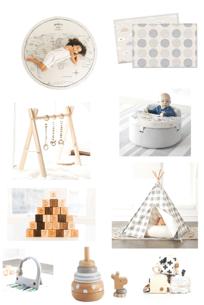 modern neutral baby play mats and toys - Add these modern and neutral baby products, including gear, toys, and feeding must haves, to your registry for a stylish nursery and a baby friendly home that won't drive you insane. #baby #babygear #modern #neutral #babyregistry #newmom #modernbaby #whattoexpect #babythings #babyproducts #playtime #playmat #woodentoys #babytoys