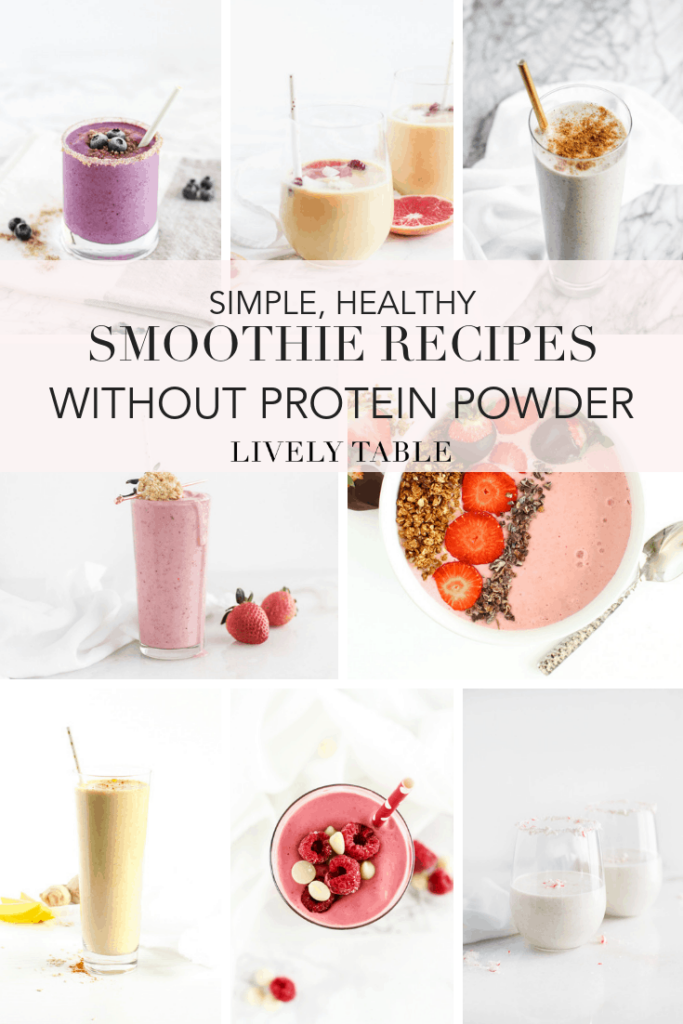 Love smoothies, but don't love protein powder? Try one or all of these 9 simple, healthy smoothie recipes without protein powder for breakfast, a snack or quick dessert! #smoothies #recipes #roundup #healthy #noproteinpowder #easy #breakfast #snack #fruitsmoothie