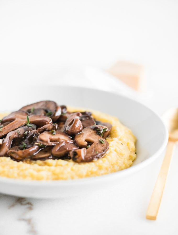 creamy parmesan polenta with red wine mushrooms