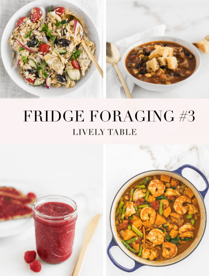 In the third installment of fridge foraging, I make Greek orzo salad, tamale soup, shrimp curry, raspberry jam, and a 'throw everything in the blender' smoothie. #endfoodwaste #fridgeforaging #foodwaste #sustainability #leftovers #livelytable
