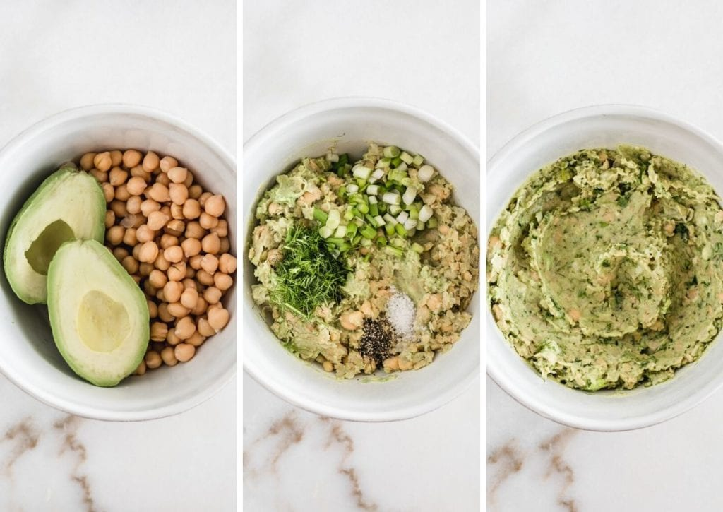 Vegan chickpea avocado salad in a bowl being made.