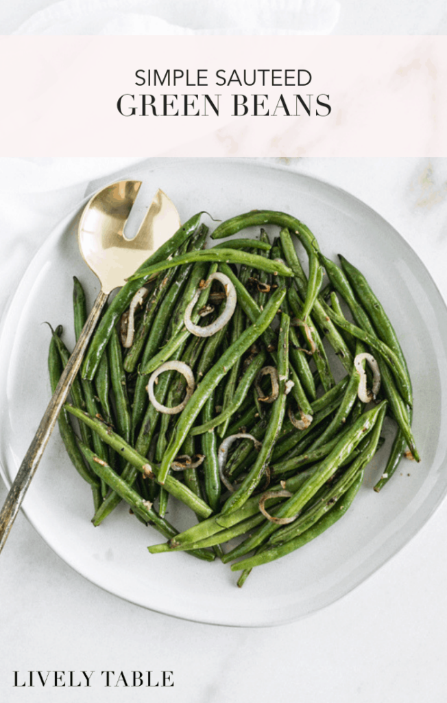 These simple sautéed green beans make a delicious, easy side dish for weeknight meals and holidays alike! (#glutenfree, #vegan, #nutfree) #sidedish #greenbeans #vegetables #healthy #recipes #easy #Easter #Thanksgiving #Christmas #weeknight