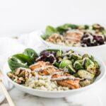 salmon walnut quinoa bowls