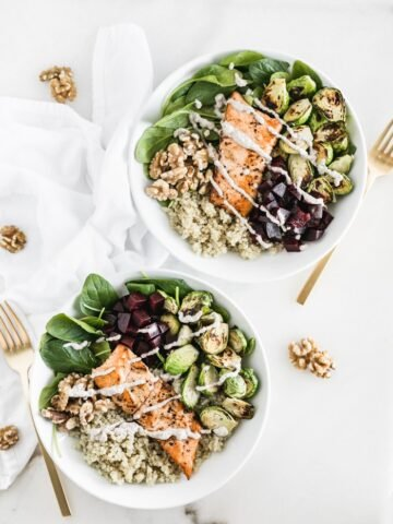 Salmon Walnut Quinoa Bowl