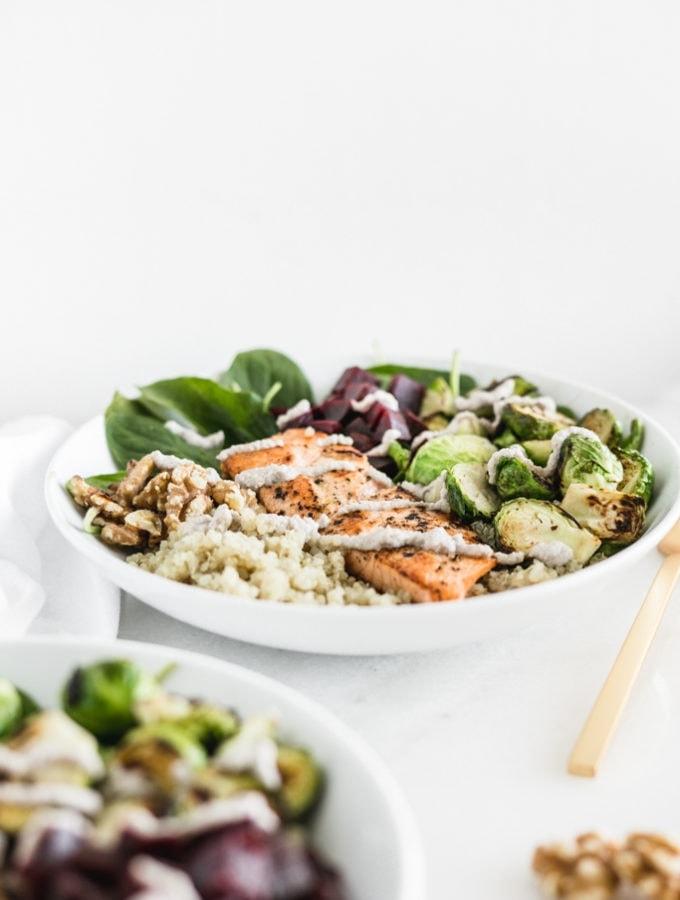 Salmon Walnut Quinoa Bowl