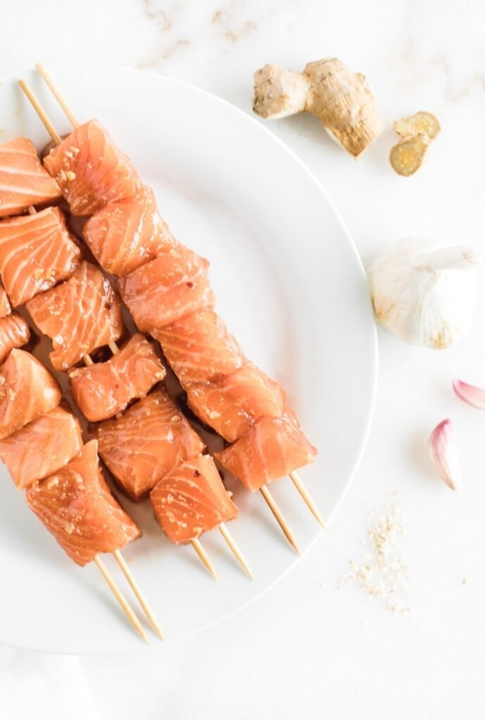 salmon on skewers