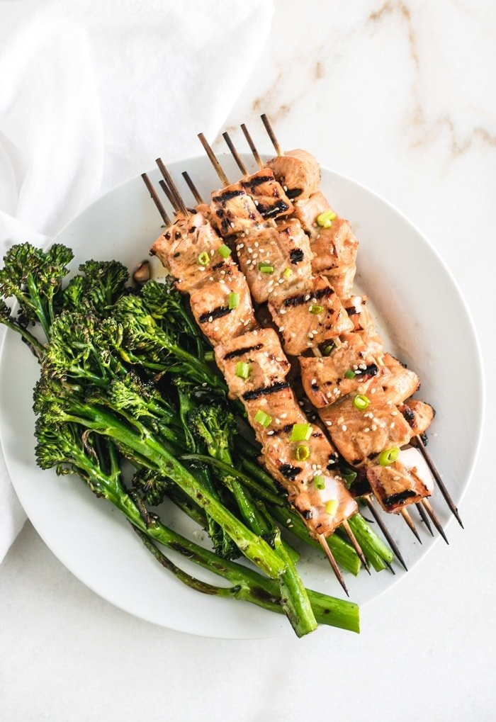 asian grilled salmon kabobs with broccolini