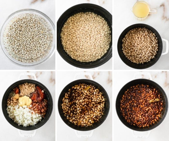 six image collage showing steps for making homemade baked beans.