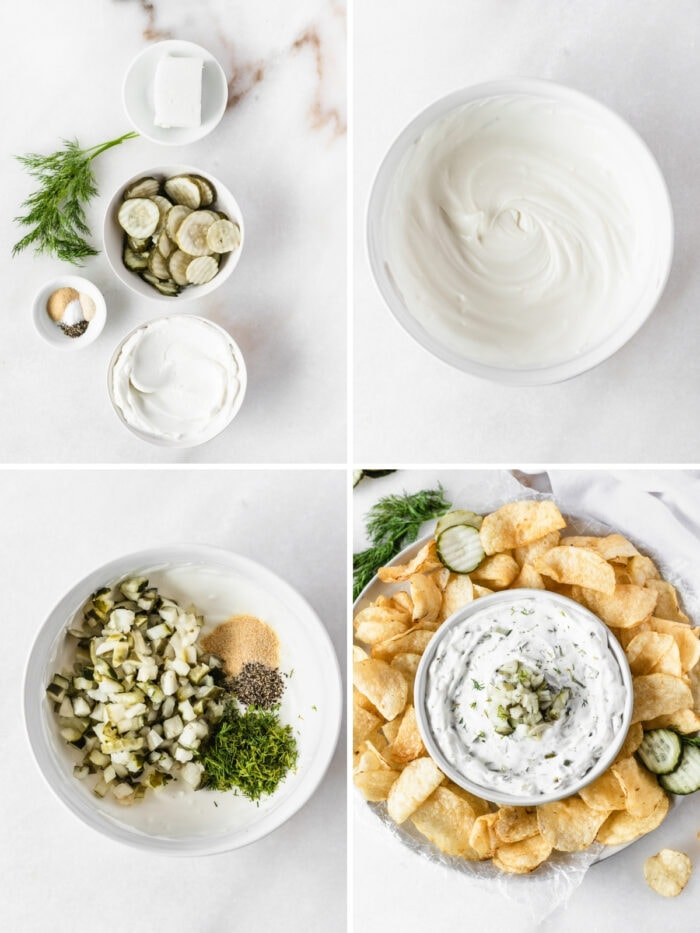4 image collage showing steps for making dill pickle dip.