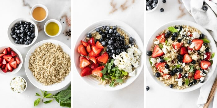 three image collage showing steps for making red white and blue quinoa salad.