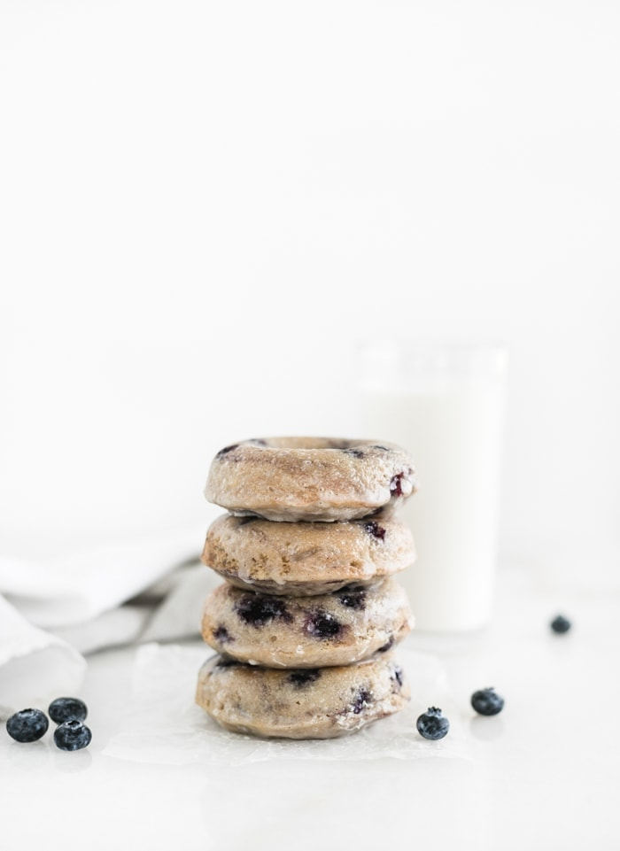 stacked blueberry cake donuts