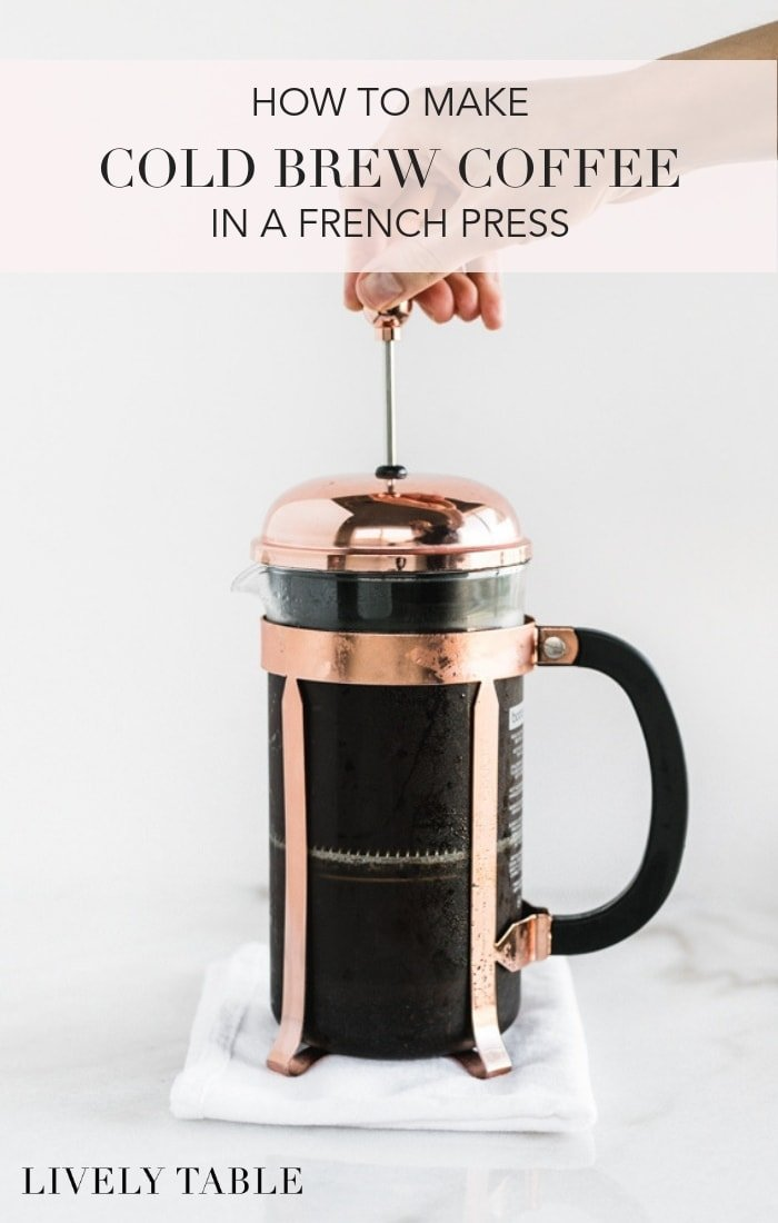 Making cold brew coffee at home is easier than you think! Learn how to make cold brew in a french press and have delicious cold brew coffee at home - without the coffee shop price tag! #coffee #coldbrew #frenchpress #icedcoffee #recipe