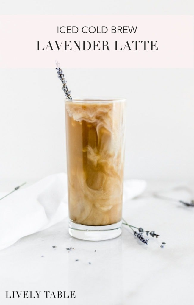 This iced lavender cold brew latte, with cold brew made in the French press, is a delicious way to change up your morning coffee habit in the hot summer months! #coldbrew #coffee #icedlatte #lavender #recipe #frenchpress