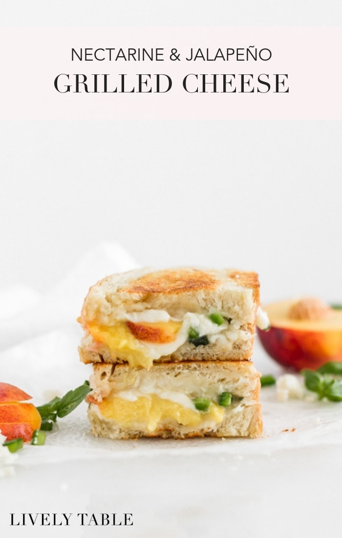 This isn't your typical grilled cheese sandwich! Treat yourself to a seasonal nectarine jalapeño grilled cheese with queso fresco and basil for a sweet, spicy, melty, summery meal! (#nutfree, #vegetarian) #grilledcheese #sandwich #lunch #nectarine #jalapeno #quesofresco #recipes #easydinner