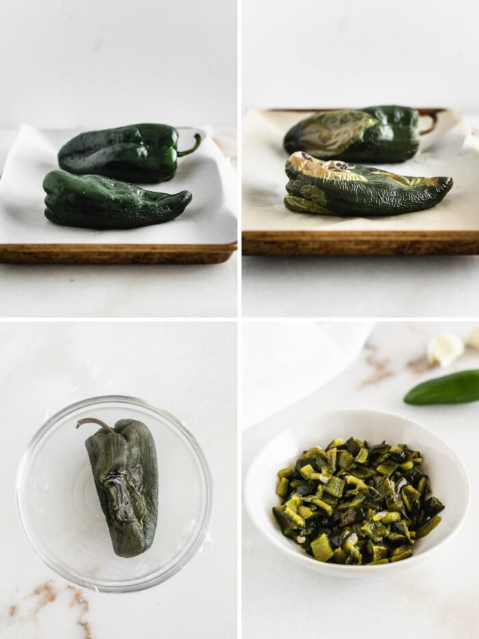four image collage showing steps for roasting poblanos.
