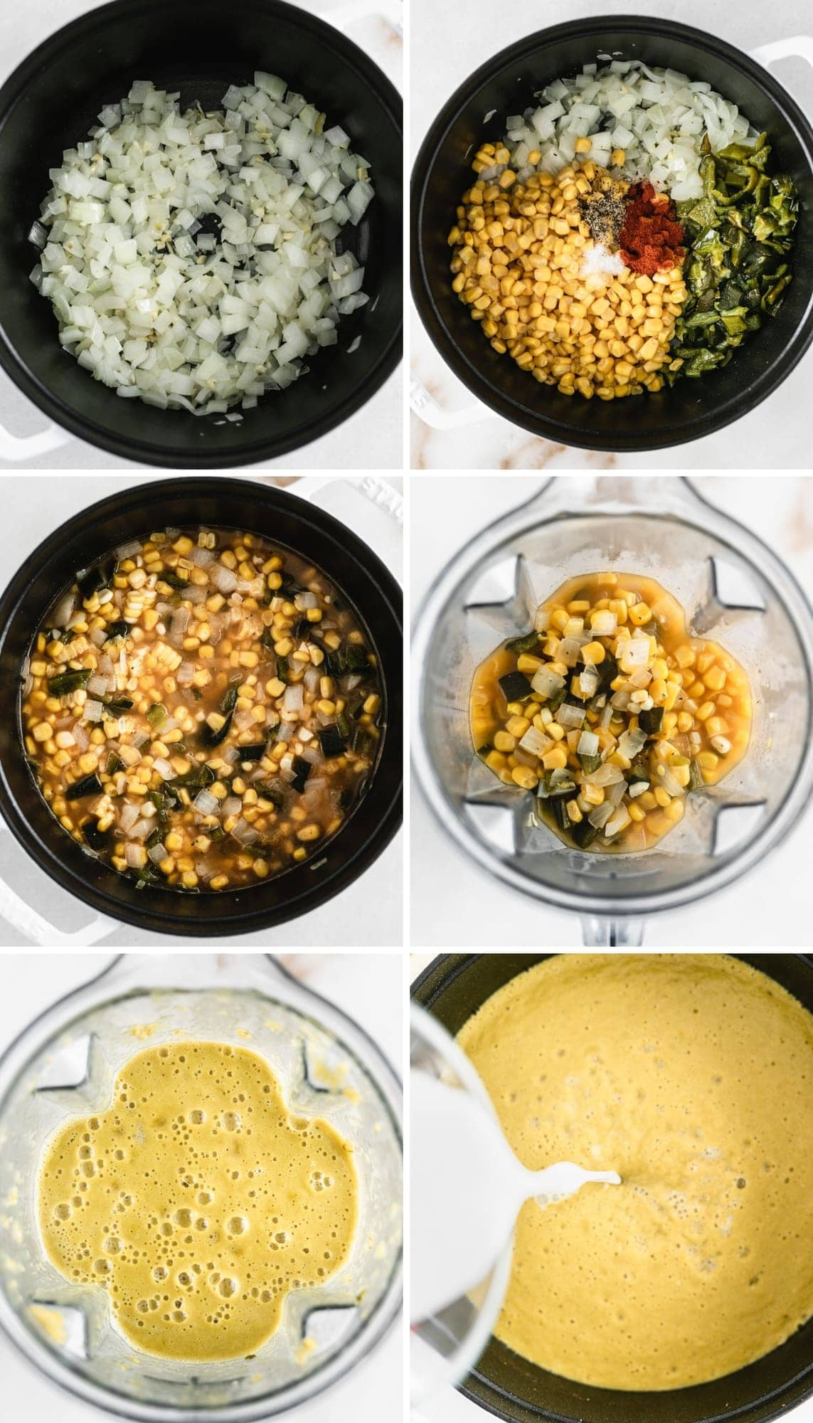 six image collage showing steps for making creamy corn poblano soup.