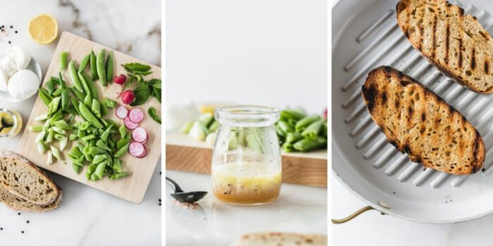 three image collage with overhead view of ingredients for snap pea burrata salad, lemon vinaigrette in a glass jar, and sourdough bread being grilled on a grill pan.