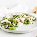 snap pea salad with burrata, sourdough croutons, and lemon vinaigrette
