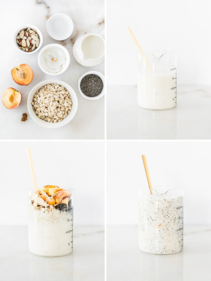 four image collage showing steps for making almond peach overnight oats.