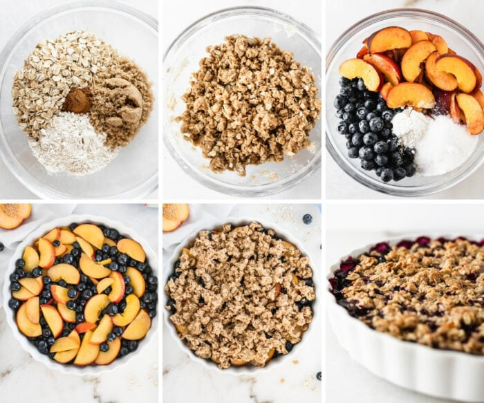 six image collage showing steps for making blueberry peach crumble.