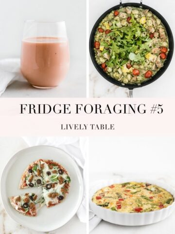 In this month's installment of Fridge Foraging, I made a quick pita pizza, refreshing mango melon smoothie, summer corn chicken pesto gnocchi, and a veggie frittata! #fridgeforaging #livelytable #reducefoodwaste
