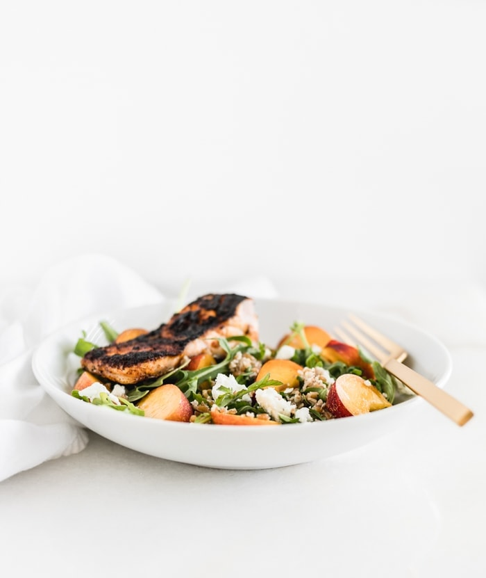salmon peach grain bowl