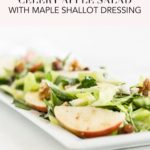 pinterest image of celery apple salad with maple shallot dressing