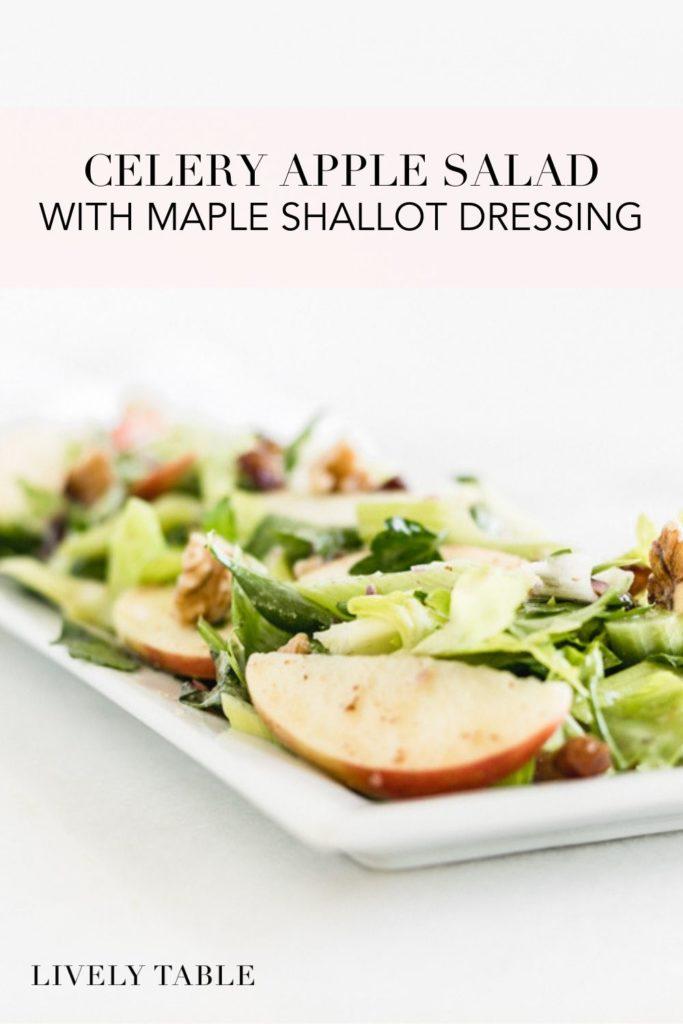 pinterest image of celery apple salad with maple shallot dressing