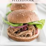 pinterest image for cranberry chipotle pulled pork sandwiches