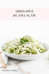 pinterest image of green apple jicama slaw