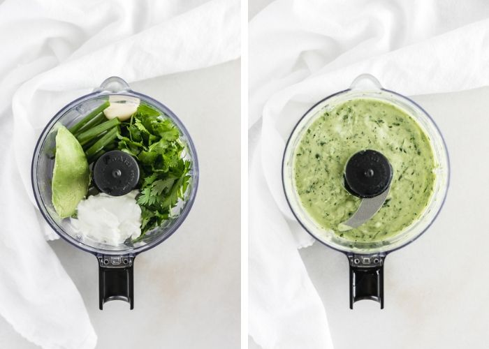 side by side images of avocado, garlic, herbs, and yogurt in a food processor, then the ingredients blended together.