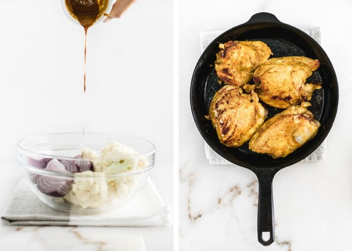 side by side images, one pouring spices into a bowl of cauliflower and red onions, the other of chicken thighs in a cast iron skillet.