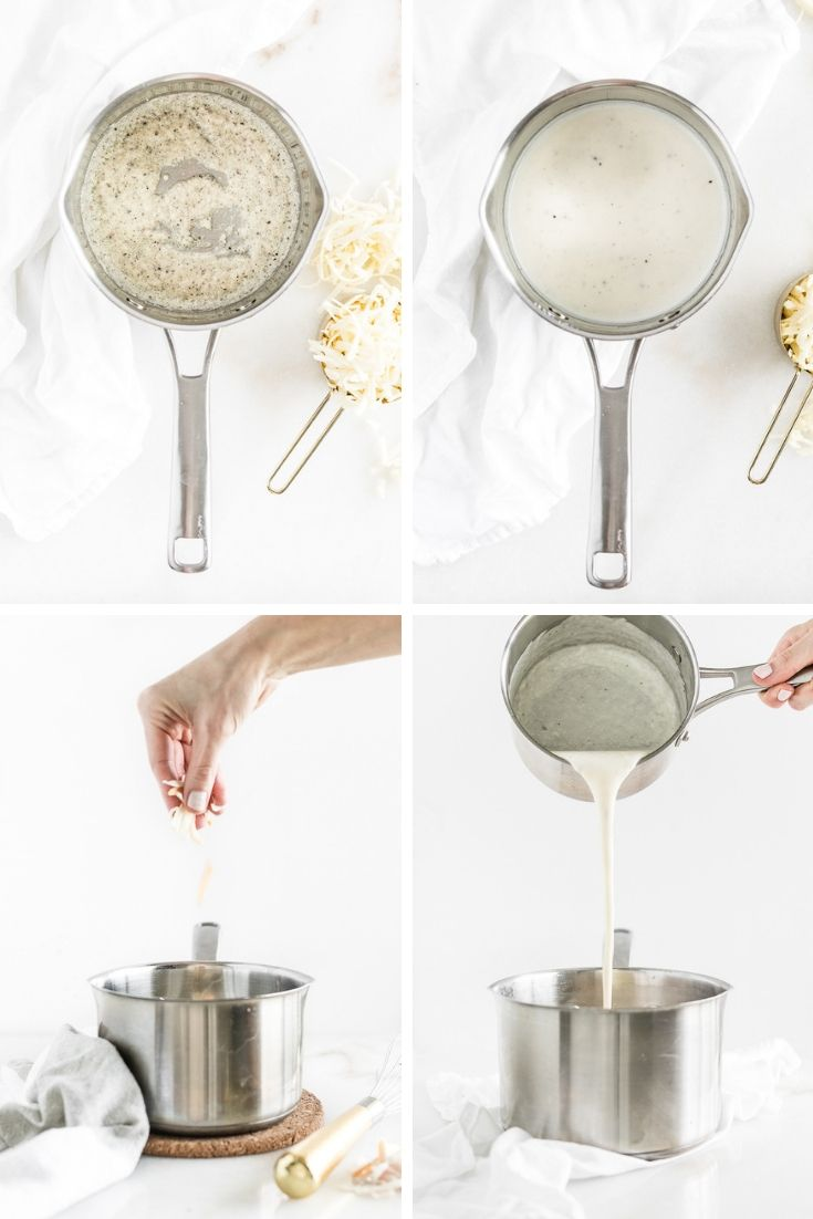 collage of four images showing how to make stove top mac and cheese, the roux, the milk mixture, adding the cheese, and pouring the cheese sauce into the pot of noodles.