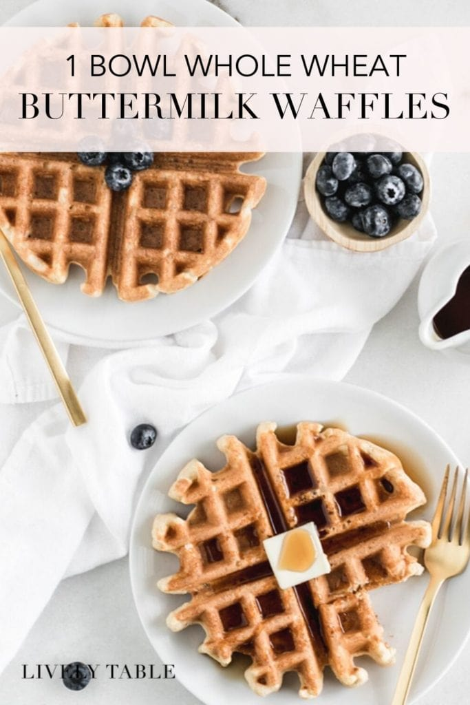 pinterest Image of 1 bowl whole wheat buttermilk waffles