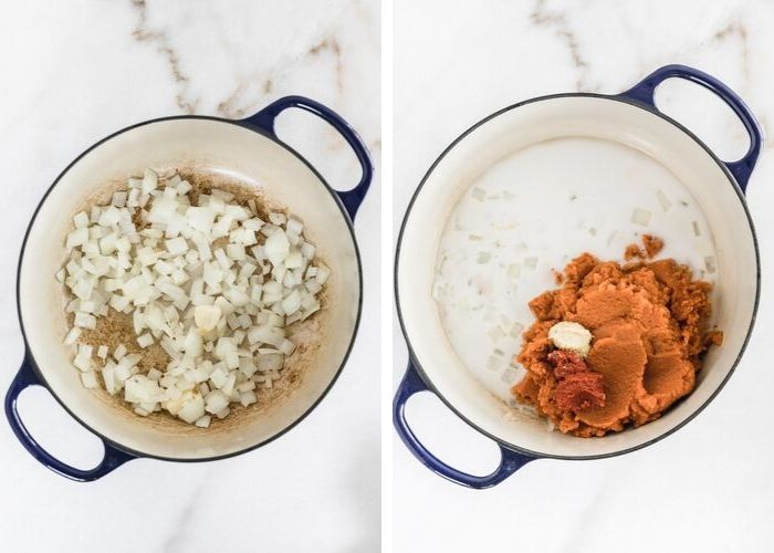 two side by side images of a blue pot, one with sauteed onions, the other with coconut milk, pumpkin puree, ginger paste and curry paste.
